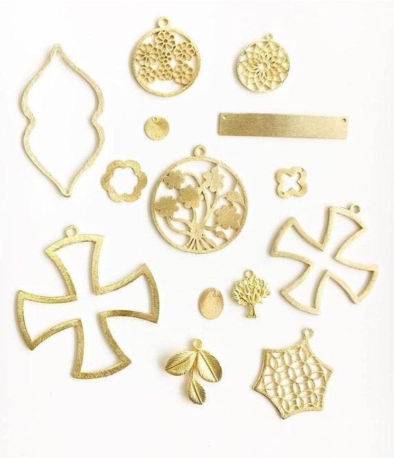 10 pièces d'or d'or pièces plaqué brossé découpe Marquise en forme de breloques, pendentifs, bijoux résultats/composants 679d3a