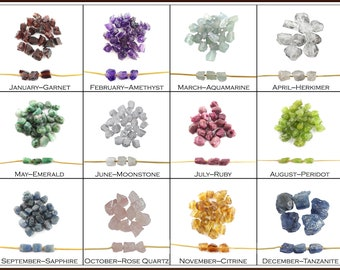 2 Pcs Raw Birthstone 8-10mm Large Hole Center Drilled Beads Charm, 2mm Hole - Birthstone Charms