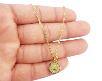 Sagittarius Zodiac Coin Necklace, Celestial Jewelry, Gold Zodiac Necklace, Zodiac Coin Necklace