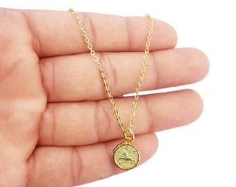 Leo Zodiac Coin Necklace, Celestial Jewelry, Gold Zodiac Necklace, Zodiac Coin Necklace