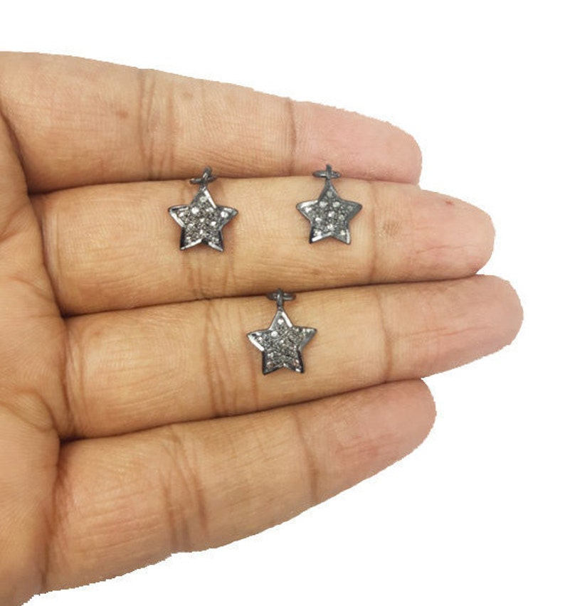 1 Pcs Tiny Star Shape Pave Diamond 925 Sterling Silver Charm Pendant Diamond Charms