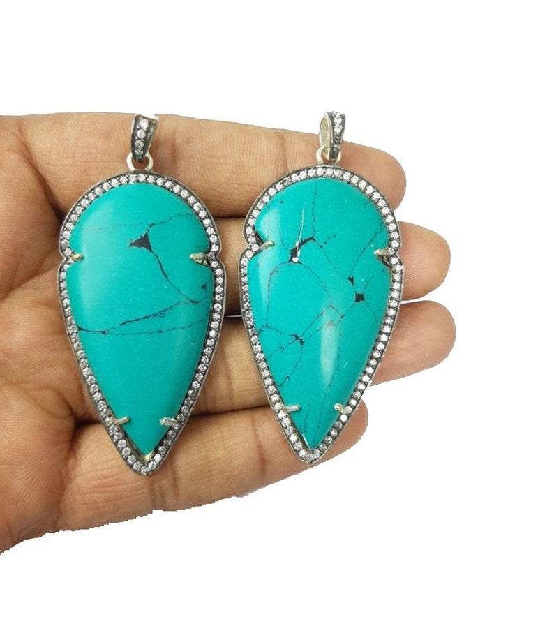 Turquoise Oxidized Plated Arrowhead Shape Pendant Turquoise Charms