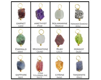 2 Pcs Birthstone Rough Gold Plated Wire Wrapped Charm - Birthstone Pendant - Raw Stone Pendant