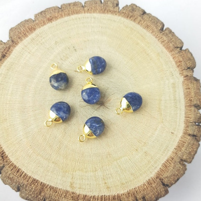 2 Pcs Sodalite Smooth Tumble Electroplated Charm Sodalite Charms