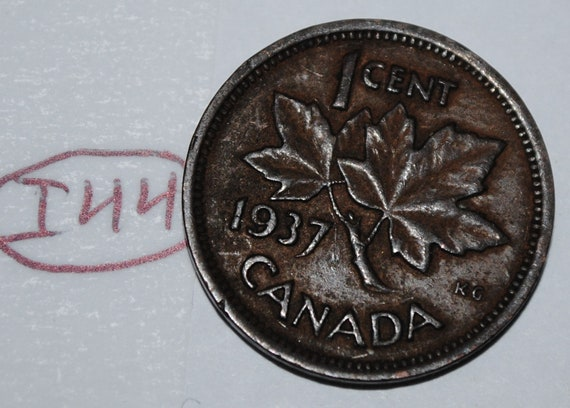 1937 CANADA 1¢ CIRCULATED KING GEORGE VI COPPER PENNY