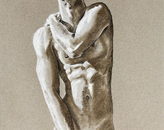A naked back, signed original pastel drawing, nude art on paper