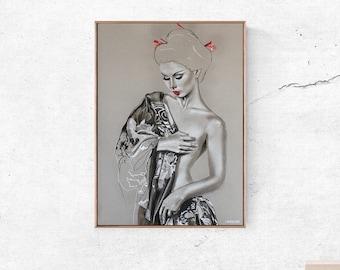 Art print, kimono geisha, printing from an original pastel drawing, nude art, drapery art