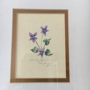 Gardener\u2019s  Gift   Vintage Botanical Watercolor Woodland Flower Sandy Lynam Clough Purple  Wild Violets Vintage Framed Art