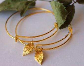 Dainty gold leaf bracelet, gold leaf bangle bracelet, charm bracelet, friendship bracelet, nature bangle, bangle with leaf charm, dainty