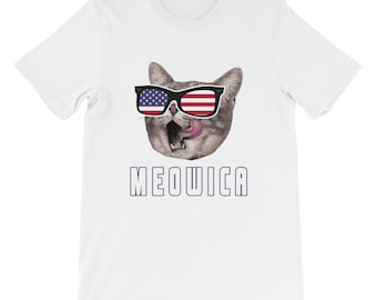 a4231e987d Meowica USA American Flag Cat T-Shirt Funny 4th Of July Gift Fourth Of July Independence  Day Cat Shirt US Flag Short-Sleeve Unisex T-Shirt