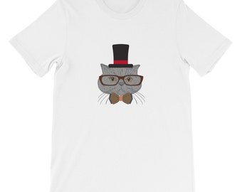 668cbcb2866c4 Hipster Fancy Cat Lover Kitty Lover Sir Cat Cate Fedora Serious Glasses  British Mustache T-Shirt Short-Sleeve Unisex T-Shirt