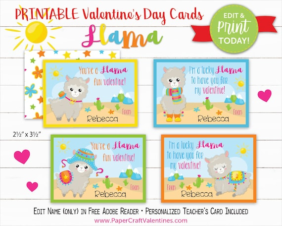 image about Printable Valentines Craft known as Llama Valentine Playing cards Printable Clroom Valentines