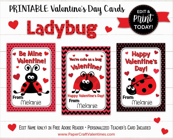 image about Printable Valentine Cards for Teachers known as Ladybug Valentine Playing cards Printable Clroom Valentines Clroom Substitute Playing cards By means of Paper Craft Valentines