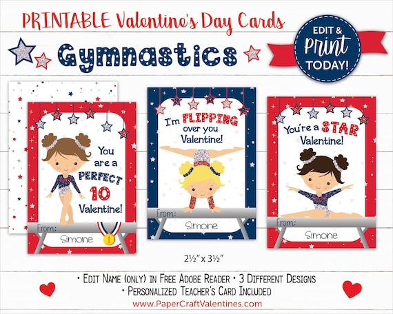 image relating to Printable Valentine Craft identified as Gymnastics Valentine Playing cards Printable Clroom Valentines