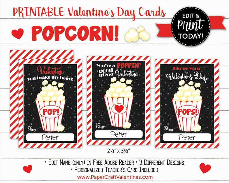 picture about Popcorn Valentine Printable identify Popcorn Valentine Playing cards Printable Clroom Valentines Clroom Change Playing cards As a result of Paper Craft Valentines
