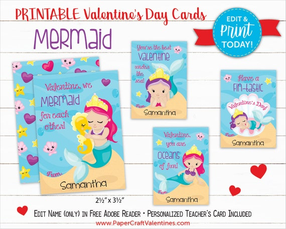 picture regarding Printable Valentines Craft titled Mermaid Valentine Playing cards Printable Clroom Valentines