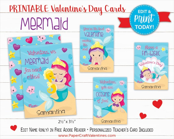 photograph regarding Printable Valentines Craft titled Mermaid Valentine Playing cards Printable Clroom Valentines