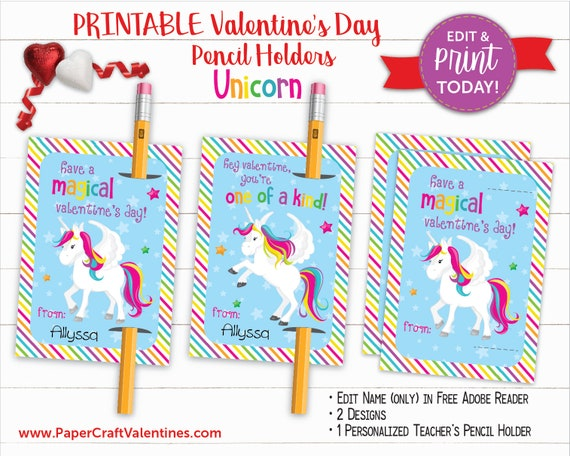 picture regarding Free Printable Unicorn Valentines named Unicorn Valentine Pencil Holder Non Sweet Printable
