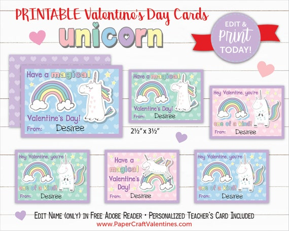 photo relating to Free Printable Unicorn Valentines known as Unicorn Valentine Playing cards Printable Clroom Valentines