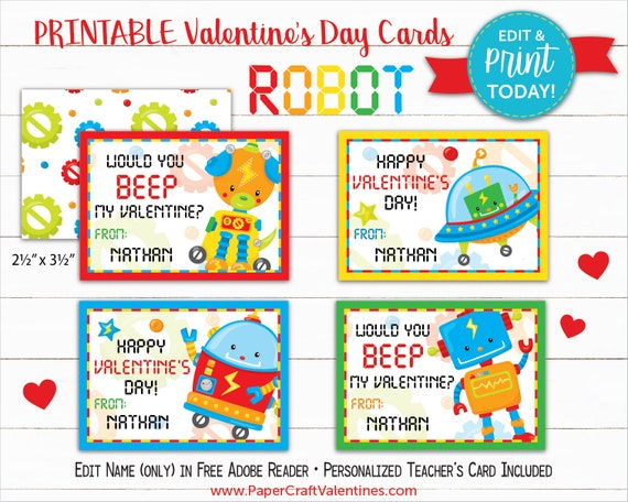 photo regarding Printable Teacher Valentine Cards Free named Robotic Valentine Playing cards Printable Clroom Valentines
