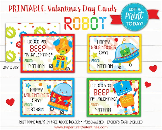 photograph about Printable Teacher Valentine Cards Free referred to as Robotic Valentine Playing cards Printable Clroom Valentines