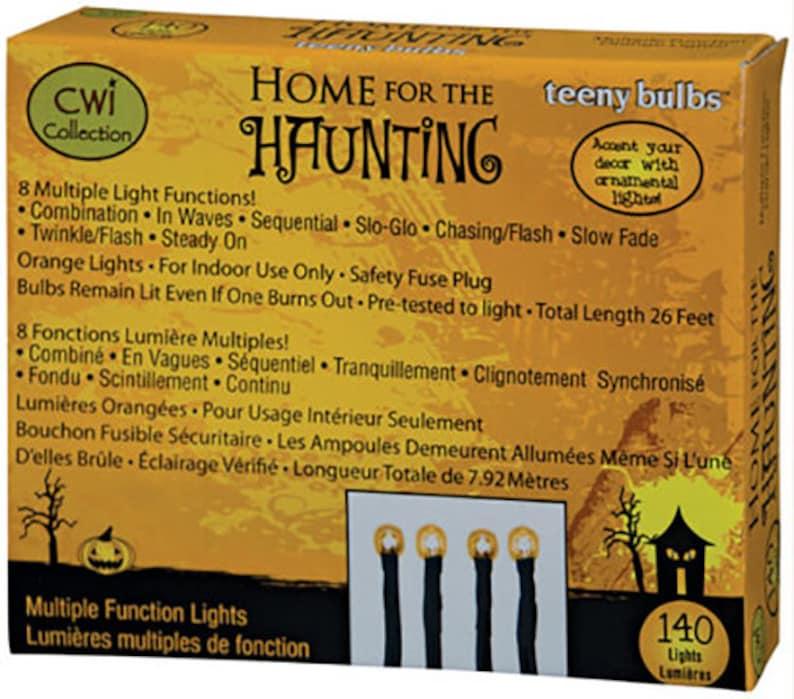 140 Ct Light String  Strand  Set Multi Function Twinkle Orange Teeny Rice Light Bulbs Halloween 140 Count Black Cord