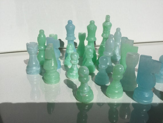 Chess Set Unique Marbled Pink v Blue Educational Toys Games Gift Made in the USA