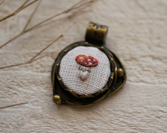 Tiny Hand Embroidered Mushrooms Necklace. Mushroom Necklace. Wanderlust Jewelry. Amanita Muscaria. Embroidered Necklace. Woodland Jewelry