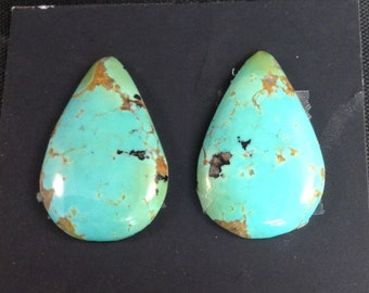 Kingman Turquoise/Poly-chrome/ Two-tone turquoise/ Free Form Cabochon/ Tear drop/ Earring set/ Not backed/Arizona turquoise/tcff53