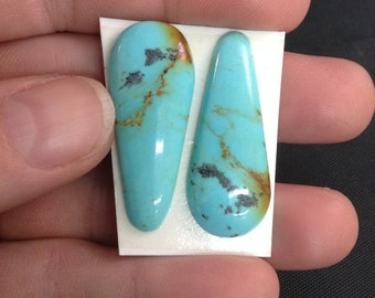 Kingman Turquoise/Poly-chrome/ Two-tone turquoise/ Free Form Cabochon/ Tear drop/ Earring set/ Not backed/Arizona turquoise/tcff61