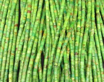Mohave Green/Kingman Turquoise/ 4 mm Hieshi/ bead strand/MGH4