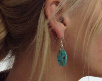 Kingman Turquoise/slab/earrings/oval/sterling silver/Arizona turquoise/SETO
