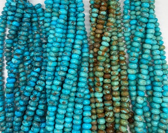"Kingman Turquoise/ 8-9 mm Rondell/ 8"" bead strand/ Arizona turquoise/Blue Green/ Southwestern/DIY Jewelry/Beading/"