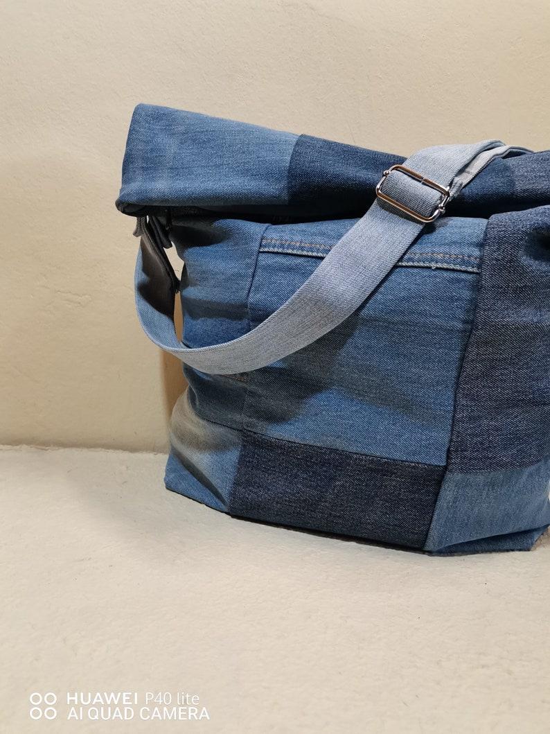 vegan bag with pockets jeans bag with adjustable shoulder strap recycled denim fabric bag