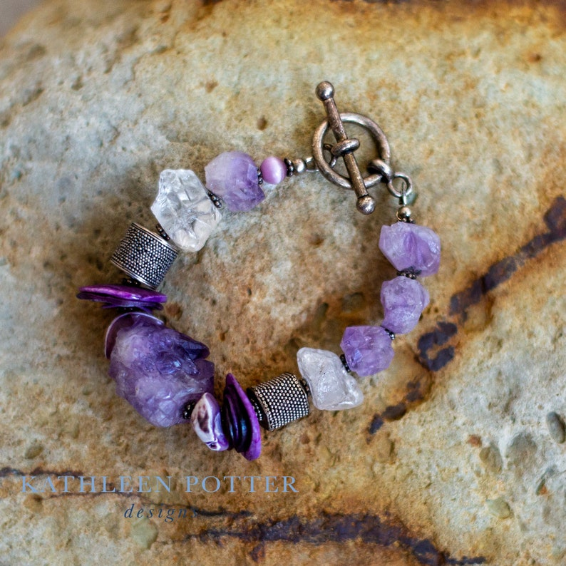 Bracelet FREE SHIPPING Sterling Silver Bali Beads and Spacers Purple Quartz Nuggets