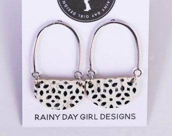 Black & White Geo Cork Casey Earrings