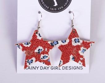 Red Floral Cork Star Earrings
