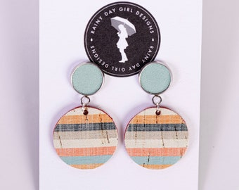 Retro Stripe Mini Circle Cork Earrings