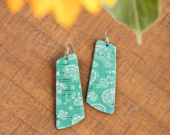 Featured listing image: Green Bandana Cork Irregular Bar Earrings