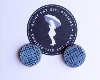 Denim Blue Stud Earrings 12mm