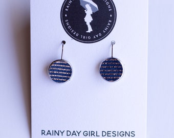 Navy Metallic Striped Lucy Leather Earrings 12mm