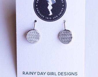 Grey Leather Lucy Earrings 12mm