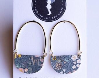 Navy Modern Floral Cork Casey Earrings
