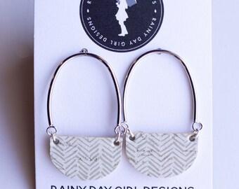 Tan Chevron Cork Casey Earrings