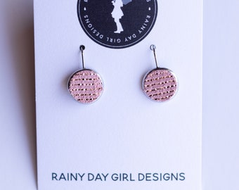 Pink Metallic Striped Lucy Leather Earrings 12mm