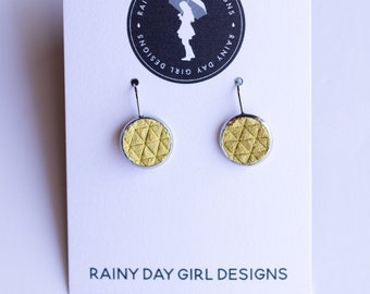 Sunshine Yellow Textured Lucy Earrings 12mm