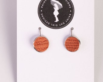 Orange Textured Leather Lucy Earrings 12mm