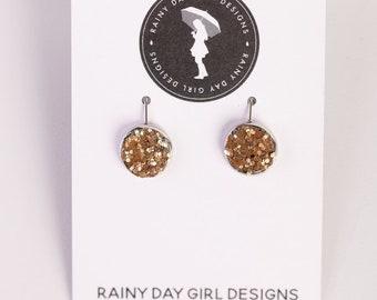 Bronze Glitter Lucy Earrings 12mm