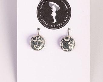Denim Lace Cork Lucy Earrings 12mm