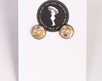 Yellow Floral Leather Stud Earrings 12mm